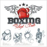 Boxing labels and icons set. Vector illustration. Stock Images