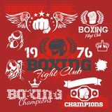 Boxing labels and icons set. Vector illustration. Royalty Free Stock Images