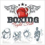 Boxing labels and icons set. Vector illustration. Stock Photography