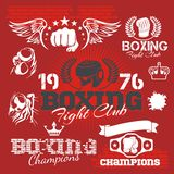 Boxing labels and icons set. Vector illustration. Royalty Free Stock Photos