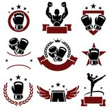 Boxing labels and icons set. Vector. Training, collection, tough royalty free illustration