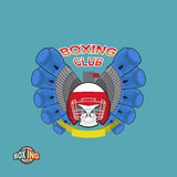 Boxing labels. Skull in a boxing helmet with gloves. Vector illu Royalty Free Stock Image