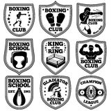 Boxing labels vector set. With boxer, gloves, punchbag, winner belt, ring, helmet. Royalty Free Stock Photography