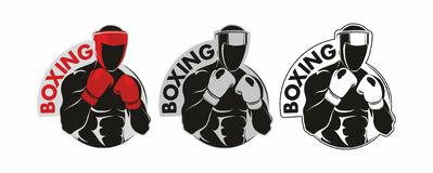 Boxing logo. Boxing Club Logo. Man in boxing gloves Royalty Free Stock Photos