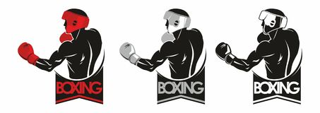 Boxing logo. Boxing Club Logo. Man in boxing gloves Royalty Free Stock Images