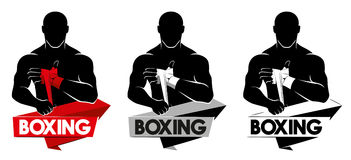 Boxing logo. Boxing Club Logo. Man in boxing gloves Royalty Free Stock Photo