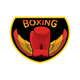 Boxing logo. Gloves and wings. Emblem for sports team and fight Stock Photography