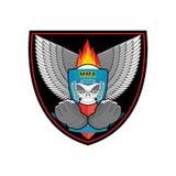Boxing logo. Sports emblem. Skull and boxing gloves. Protective Stock Image