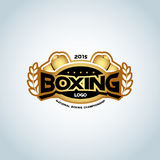 Boxing logo template. Golden color. Boxing club logotype. Boxing emblem, label, badge, t-shirt design, boxing, fight theme. Boxing logo template. Golden color Stock Images