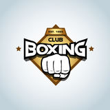 Boxing logo template. Golden color. Boxing club logotype. Boxing emblem, label, badge, t-shirt design, boxing, fight theme. Royalty Free Stock Photos