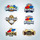 Boxing logo templates set. Red, blue and gold colors. Boxing club logotype. Boxing shield, emblem, label, badge, t-shirt design. Royalty Free Stock Photos