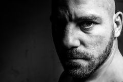 A boxing man black and white portrait of his Stock Photo