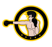 Boxing man emblem Stock Images