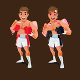Boxing man fine and injury. before and after concept. fighting s. Port -  illustration Stock Photography