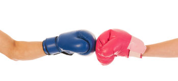 Boxing man and woman Stock Photo