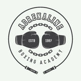 Boxing and martial arts logo, badge or label in vintage style. Stock Image