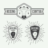 Boxing and martial arts logo badges and labels in vintage style. Stock Images