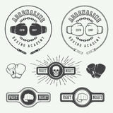 Boxing and martial arts logo badges and labels in vintage style. Stock Photo