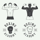 Boxing and martial arts logo badges and labels in vintage style. Royalty Free Stock Image