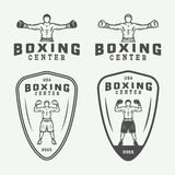 Boxing and martial arts logo badges and labels in vintage style. Vector illustration stock illustration