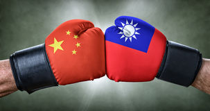 Boxing match between China and Taiwan. A boxing match between China and Taiwan stock image