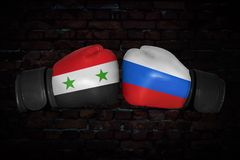 A boxing match between the Syria and Russia royalty free stock photography
