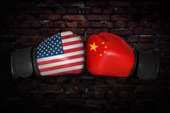 A boxing match between the USA and Russia Royalty Free Stock Photos