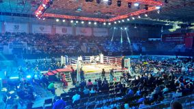 Boxing match. Between Dmitry Kudryashov and Durudola in Rostov-on-Don Russia Royalty Free Stock Photos