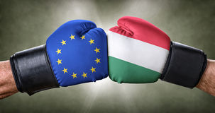 Boxing match between the European Union and Hungary Royalty Free Stock Images