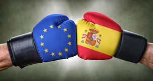Boxing match between the European Union and Spain stock image