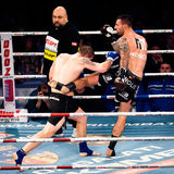 Boxing match. GALATI, ROMANIA - DECEMBER 21: Unidentified fighters fighting in the ring at Superkombat World Grand Prix finals, on December 21, Galati Romania royalty free stock images