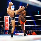 Boxing match. GALATI, ROMANIA - DECEMBER 21: Unidentified fighters fighting in the ring at Superkombat World Grand Prix finals, on December 21, Galati Romania stock image