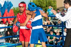 A boxing match Javier Ibanez, Cuba and Malik Bajtleuov, Russia. Defeated Javier Ibanez. ORENBURG, ORENBURG region, RUSSIA, 25 July, 2014 year. Match meeting Stock Image