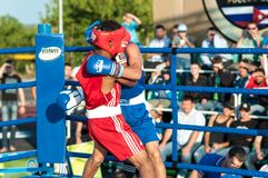 A boxing match Javier Ibanez, Cuba and Malik Bajtleuov, Russia. Defeated Javier Ibanez. ORENBURG, ORENBURG region, RUSSIA, 25 July, 2014 year. Match meeting Stock Photo
