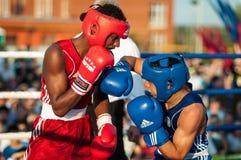 Boxing match. ORENBURG, ORENBURG region, RUSSIA, 25 July, 2014 year. Youth meeting on the boxing match between Russia and Cuba. A boxing match between Alayn stock photo