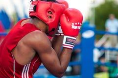 A boxing match Osleys Iglesias, Cuba and Salah Mutselkhanov, Russia. Victory Osleys Iglesias Royalty Free Stock Photo