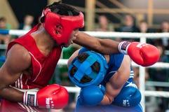 A boxing match Osleys Iglesias, Cuba and Salah Mutselkhanov, Russia. Victory Osleys Iglesias Stock Image