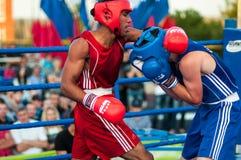 A boxing match Osleys Iglesias, Cuba and Salah Mutselkhanov, Russia. Victory Osleys Iglesias Royalty Free Stock Photos