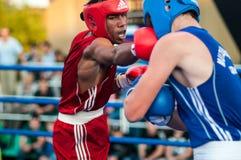 A boxing match Osleys Iglesias, Cuba and Salah Mutselkhanov, Russia. Victory Osleys Iglesias Royalty Free Stock Images