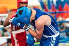 A boxing match Osleys Iglesias, Cuba and Salah Mutselkhanov, Russia. Victory Osleys Iglesias Royalty Free Stock Image
