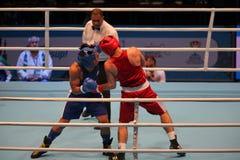 Boxing match single combat Stock Photos