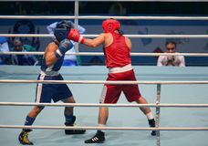 Boxing match. St. Petersburg, Russia, November 21, 2016 Youth World Boxing Championships  men, boxing match Royalty Free Stock Photography
