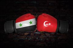 A boxing match between the Syria and Turkey Royalty Free Stock Image
