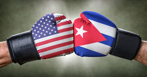 Boxing match between the USA and Cuba Royalty Free Stock Images