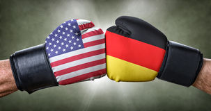 Boxing match between the USA and Germany Stock Photos