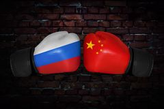 A boxing match between the USA and Russia stock images