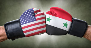 Boxing match between the USA and Syria stock photo