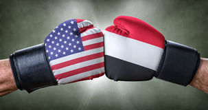 Boxing match between the USA and Yemen Stock Photography