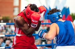 A boxing match between the winner of the World Cup 2014 year in boxing Yordan Hernandes, Cuba, and Daniel Khlebnikov, Russia. Won Stock Photos