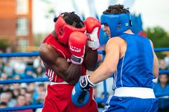 A boxing match between the winner of the World Cup 2014 year in boxing Yordan Hernandes, Cuba, and Daniel Khlebnikov, Russia. Won Royalty Free Stock Photo